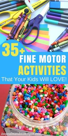 Over 35 Fine Motor Activities For Kids! Fine Motor Skills, Activities For Toddlers, Activities For Preschoolers, Activities For Kindergarteners, Sensory Activities For Kids