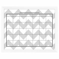 """Showcasing a chic chevron motif in gray, this framed wall calendar is a stylish way to keep track of your family's schedule and mark important appointments.   Product: Wall calenderConstruction Material: Paper, glass and polystyreneColor: White frame Features:  Use dry-erase marker to write on the glassComes ready to hangDimensions: 18"""" H x 22"""" W x 0.5"""" D   Cleaning and Care: Wipe with glass cleaner Note: Dry-erase marker not included"""