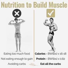 NUTRITION TO BUILD MUSCLE - For some reason people always screw up their nutrition when they want to build muscle. - They'll either eat too much and do the forever bulk which means they just get fat. Or they won't eat enough and they will never gain. - Here's what you NEED to do to build muscle: - Eat just enough calories. Unless you're a newbie the speed of muscle growth is 0.5 - 1 lb per week max. This means you need to eat just enough to be gaining 0.5 - 1 lb per week. If you are ga...