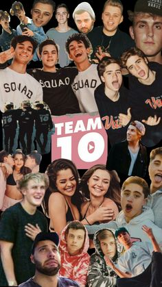 Team 10 collage phone wallpaper Jake Paul, Tessa Brooks, Ivan Martinez, Emilio Martinez(Martinez twins), Nick Crompton, Tristan Tales, AJ Mitchell, Marcus Dobre, Lucas Dobre(Dpbre twins), Chad Tepper, Kade Speiser, Erika Costell
