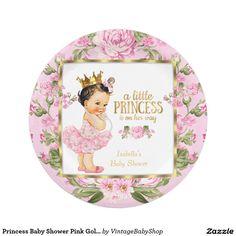 Floral subió oro del rosa de la princesa fiesta de platos de papel