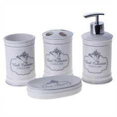 Σετ μπάνιου Bath Collection, αποτελούμενο από dispenser, σαπουνοθήκη, θήκη για οδοντόβουρτσες κι ένα δοχείο, από πορσελάνη και σε αντικέ στυλ. Μια κομψή επιλογή για το μπάνιο σας!