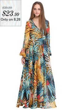 e931b4c4fe236 ROMWE Rainforest Print Self-tied Crepe Maxi DressFor Women-romwe
