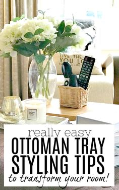 Create a gorgeous living room focal point with these ottoman tray styling ideas. A tray on an ottoman (or footstool or coffee table) can really enhance a rooms interior design, and this article will g Coffee Table Tray, A Table, Footstool Coffee Table, Ottoman Decor, Ottoman Footstool, Plateau Style, Large Ottoman Tray, Trays On Ottomans, Home