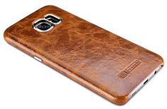 iCarer Samsung Galaxy S7 Edge Oil Wax Back Cover Series Genuine Leather Case