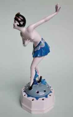 Rare German ART Deco Porcelain Lady Flower Frog Figurine Gunthersfeld | eBay