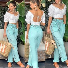 La imagen puede contener: una o varias personas y personas de pie Summer Holiday Outfits, Cute Summer Outfits, Classy Outfits, Beautiful Outfits, Cool Outfits, Casual Outfits, Look Fashion, Fashion Pants, Girl Fashion