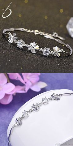 Cheap Sweet Four-leaf Clover Amethyst Girl Friend Gift Flower Silver Women Bracelet For Big Sale!Sweet Four-leaf Clover Amethyst Girl Friend Gift Flower Silver Women Bracelet Silver Bracelets For Women, Cute Bracelets, Woven Bracelets, Fashion Bracelets, Hand Accessories, Women Accessories, Gold Rings Jewelry, Gold Jewellery, Four Leaf Clover
