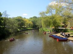 Boating on the River Wansbeck, in the centre of Morpeth.