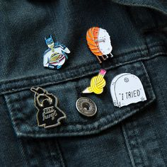 Soft enamel pin's of your favorite designs with rubber clutch backing. Limited to 250.