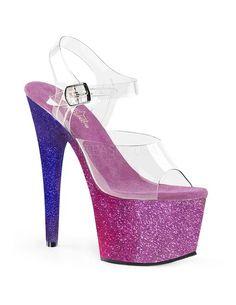 watch 2738e f8d5c Pleaser Adore 708 Ombre Glitter Platform Peep Toe Sandal