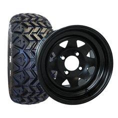 "Golf Cart Tire & Wheel Assembly - 12"" High Profile All-Terrain Tires/Wheels"