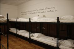 """""""Tresor Hostel in #Slovenia  Dorm room"""" This is different. I like the writing on the wall though."""