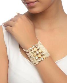 Kundan Bracelet with Rhinestones - Bracelets - Accessories