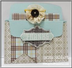 InkspiredTreasures.com, pocket card, gift card holder, Connie Babbert, Magnificent Maple, Harvest of Thanks, Envelope Liner Framelit, Stampin' Up!  Check out my blog to see the inside, too!