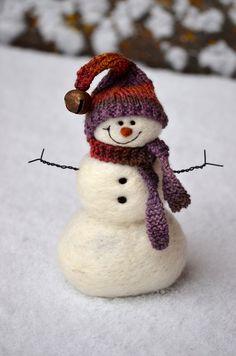 Snowman - Wool Needle Felted Snowmen - Holiday decor - 173. $50.00, via Etsy.