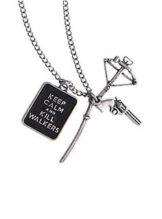 "<p>Hematite tone necklace from <i>The Walking Dead</i> with a ""Keep Calm and Kill Walkers"" pendant and weapons charms. </p>  <ul> 	<li>Pendant: 1/2"" x 3/4""</li> 	<li>Chain: 18"" long with 3"" extender</li> 	<li>Base metal</li> 	<li>Imported</li> </ul>"