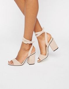 On SALE at 33% OFF! 2 part block heel sandals by London Rebel. Heels by London Rebel, Faux suede upper, Ankle-strap fastening, Almond toe, Block high heel, Wipe clean, 100% Polyure...