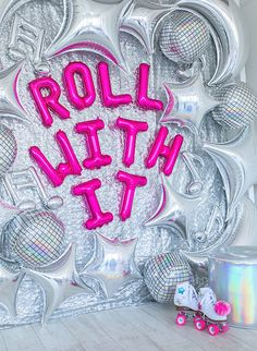this retro roller disco birthday party party will make you feel like you have traveled back in time! Everything from the silver balloons and backdrop to the pops of hot pink, to the neon disco balls, it is all genius! Disco Theme Parties, Disco Party Decorations, Disco Birthday Party, Adult Party Themes, Birthday Party Themes, Themed Parties, Kids Disco Party, Best Party Themes, 30th Birthday Party For Her