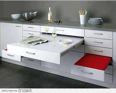 Awesome Kitchen Appliances for Small Spaces with inspiring kitchen : Inspiring Kitchen Marvelous Compact Grey Kitchen With Space Saving Red . Kitchen Furniture, Furniture Design, Smart Furniture, Furniture Vintage, Furniture Ideas, Zen Furniture, Compact Furniture, Folding Furniture, Furniture Movers