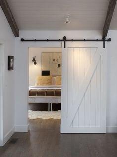 Bedroom. Sliding barn door. #chaletchic