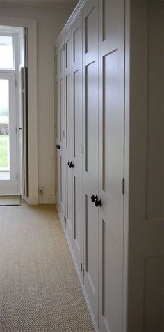 A bank of fitted wardrobes, hand made and painted in Farrow and Ball, Elephant's Breath for a beautiful home in Cumbria. Like colour for master wardrobes Closet Bedroom, Bedroom Bed, Bedroom Storage, Fitted Bedroom Furniture, Fitted Bedrooms, Diy Furniture, Painted Wardrobe, Built In Wardrobe, Fitted Wardrobes