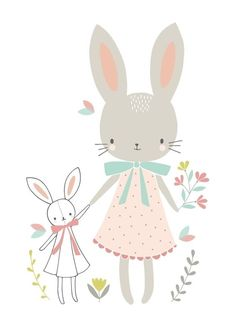 Affiche enfant lapins fille Sweet Bunnies by Flora Waycott x 40 cm), Lilipinso. Grande affiche de la collection Sweet Bunnies by Flora Waycott - L'affiche Illustration Mignonne, Cute Illustration, Friends Illustration, Lapin Art, Image Deco, Art Mignon, Decoration Stickers, Baby Posters, Animal Illustrations