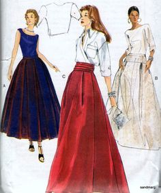 Vogue 7177 Red Carpet Evening Skirt Bridal Wedding Sewing Pattern Sizes 6-8-10 Uncut