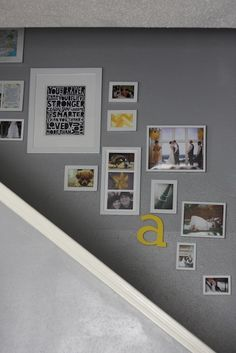 Wall Collage for office- paint frames navy or white.