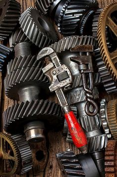 """""""Old wrenches on gears"""" by photogarry Antique Tools, Old Tools, Vintage Tools, Gear Art, Art Terms, Mechanic Tools, Peugeot, Fine Art Photo, Custom Canvas"""