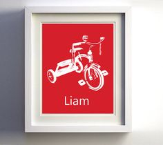Personalized Tricycle Nursery Boy Girl Kid's Room by ZeppiPrints, $16.00