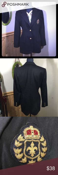 "Vintage Preppy Blazer w/ Crest 100% Wool Dark Blue 80's style blazers were all over the runway this fall and Gucci in particular had a style that incorporated crests into their designs. Get the look for much less with this beautiful vintage 100% wool Blazer from Embassy Row. Featuring an ornate crest that you can't miss, this Blazer is sure to please! Dark blue almost black (depending on the light). Some staining on liner, otherwise in excellent condition. Armpit to armpit: 21""; shoulder to…"