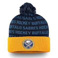 Buffalo Sabres Fanatics Branded Authentic Pro Rinkside Cuffed Knit Hat With  Pom - Gold Navy 04fbcd4c0ef4