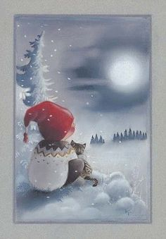 """From the """"Adventures of Pukkutonttu"""" series, no 8 -- of Finnish Christmas cards -- by Kaarina Toivanen Christmas Clipart, Noel Christmas, Christmas Printables, Christmas Crafts, Illustration Noel, Christmas Illustration, Illustrations, Vintage Christmas Images, Christmas Pictures"""