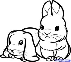 How to Draw Baby Rabbits, Baby Rabbits, Step by Step, forest animals, Animals, FREE Online Drawing Tutorial, Added by Dawn, January 18, 2012...