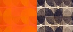'Spheres' ( 'Red and Orange on Persimmon' and 'Black on Natural' colorways) by Ross Littell made by Winston Prints for Knoll Textiles 1959.