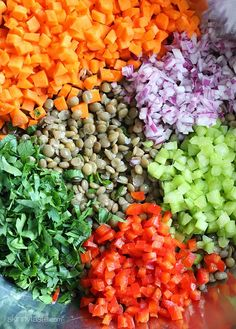 This healthy salad is made with cooked lentils and diced fresh diced carrots, celery, bell pepper, onion, parsley and lemon juice