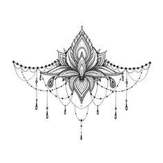 Lotus Underboob Tattoo - Lotus Sternum Tattoo / Lotus Sexy Underboob Tattoo / Festival Underboob Tattoo / Ornament Underboob - Here we have an amazingly complicated and feminine Lotus tattoo. Sternum Tattoo Lotus, Tattoo Henna, Sternum Tattoo Design, Tattoo Forearm, Tattoo Fonts, Sternum Tattoos, Lace Tattoo Design, Diy Tattoo, Foot Tattoos