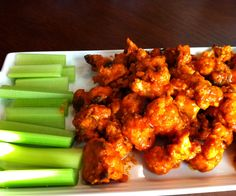 Evolve Vegan: Cauliflower Wings Revisited - no butter or oil - 1 large head of cauliflower 3/4 bottle of Wing-Time Buffalo Sauce 1 cup + 2 Tbsp non-sweetened, plain almond milk 3/4 cup chickpea flour 1 tsp garlic powder 1 tsp onion powder 1 tsp curry powder 2 Tbsp nutritional yeast 450° 20 min