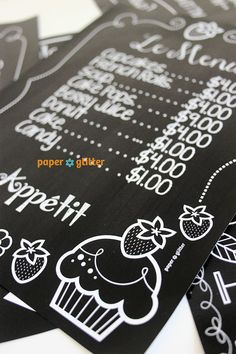 Chalkboard Art Poster Wall Decor Paper Printables - Could use for menu invitation or sign Editable Text Printable 0117