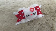 5/8 small size single loop Dog Bow - Hello Kitty red/ white polka dots - Perfect for Yorkie/ Maltese/Shih Tzu+  Beautiful hand-crafted dog bows (as pictured)  Two 5/16 latex grooming bands sewn on the back for easy placement or choose other attachments above! If you prefer 5/16 non-latex message me with your checkout. Have these available now too! Above picture left to right: 1. French barrette (30mm/1), 2. Alligator clip w/teeth (30mm/1) and 3. Flat clip barrette  Loop to loop: 1; ~1 1/2…