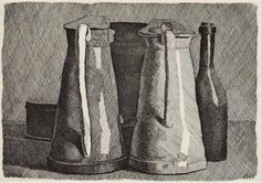 Giorgio Morandi, Still Life with Five Objects. Etching on cream wove paper, 15 in. x 18 ½ in. Bowdoin College Museum of Art, Brunswick, Maine. Still Life Drawing, Still Life Art, Juan Sanchez Cotan, Galerie Des Offices, Gravure Illustration, Simple Subject, London Look, Cross Hatching, Art History