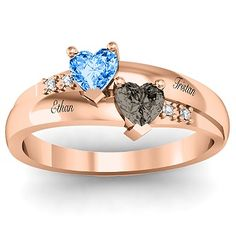 This would be so cute to buy - Rose gold Mothers ring - Personalized with you childrens name & birthstone