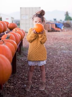 Mustard sweater, pleated skirt, pumpkin patch, fall/autumn