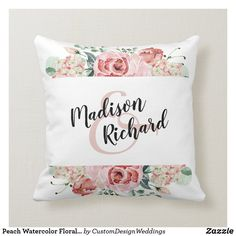 Shop Peach Watercolor Floral Bride & Groom Monogram Throw Pillow created by CustomDesignWeddings. Personalize it with photos & text or purchase as is! Elegant Wedding, Floral Wedding, Diy Wedding, Wedding Ring, Wedding Gifts, Ring Bearer Pillows, Ring Pillow, Make Your Own Pillow, Monogram Wedding
