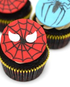 Transform your cupcakes into authentic Spider-Man ones but topping them with these fondant toppers. The pack includes two different designs, a Spider-Man mask, and a spider. See more party ideas and share yours at CatchMyParty.com #catchmyparty #partyideas #spidermanparty #superheroparty #boybirthdayparty #spiderman #spidermanpartysupplies #spidermancupcakes