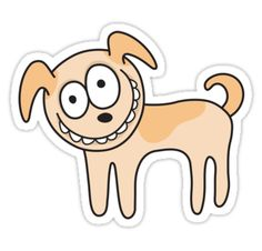 Cute and somewhat crazy looking cartoon dog. Fun sticker from Redbubble.