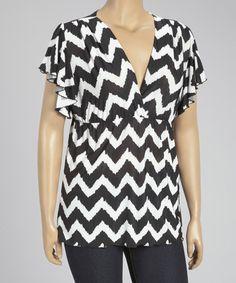 Look what I found on #zulily! Black & White Zigzag V-Neck Top - Plus #zulilyfinds