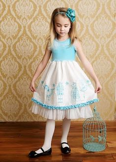 Lemon Loves Lime Holly Holiday Baby Blue Nutcracker Silk Dress