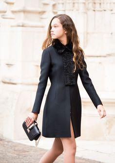 VALENTINO Black Fur-Lined Collar And Astrakhan Coat http://departementfeminin.com/en/clothing/jackets-and-coats/1606-black-fur-lined-collar-and-astrakhan-coat.html